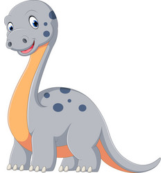 Cute dinosaur diplodocus cartoon vector
