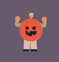 cute man wearing pumpkin scarecrow costume happy vector image