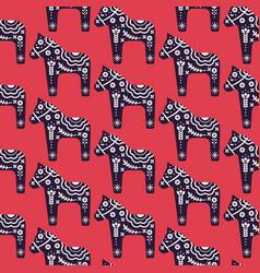 Dala scandinavian style horse seamless vector