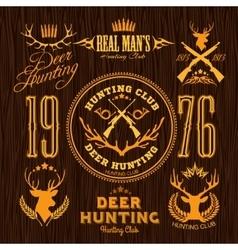 Deer Hunting - set for hunting emblem vector