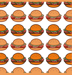 delicious hamburger fast food background icon vector image