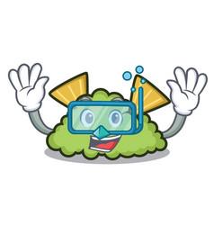 Diving guacamole character cartoon style vector