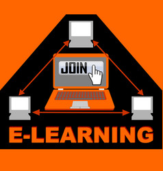 e-learning banner with group of computers in vector image