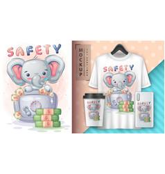 Elephant is saving money poster and merchandising vector