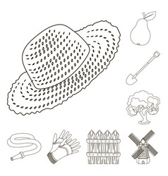 Farm and gardening outline icons in set collection vector