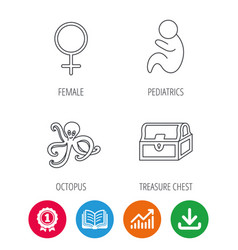 Female treasure chest and paediatrics icons vector