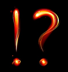 fiery question mark vector image