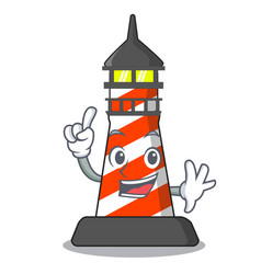 finger classic cartoon lighthouse of red vector image