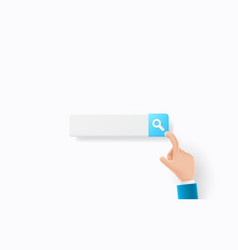 finger press search icon or magnifying glass icon vector image