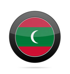 flag of maldives shiny black round button vector image