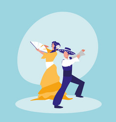 flamenco dancers couple isolated icon vector image