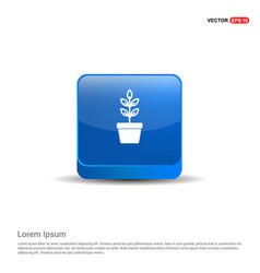 Flower pot icon - 3d blue button vector
