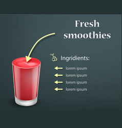 fresh red smoothie concept background realistic vector image