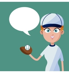 Girl baseball player bubble speech vector