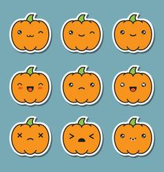 Halloween kawaii cute pumpkin icons isolated vector