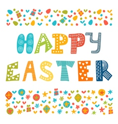Happy Easter greeting card with cute design vector image