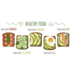 healthy food toasts with avocado vector image