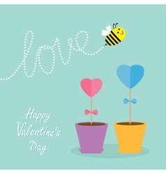 heart stick flower in pot and bee with dash vector image