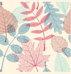 High detail skeleton leaf seamless pattern vector