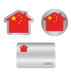 Home icon on the China flag vector image