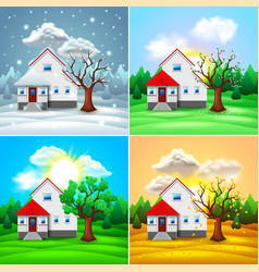 House and nature four seasons vector