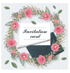 invitation card collection on wooden background 5 vector image
