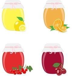 Jam jars lemons oranges currants and cherries vector