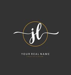 Jl initial letter handwriting and signature logo vector