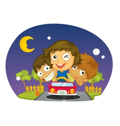 Kids driving vector image