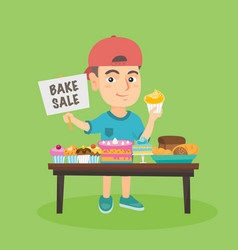 Little caucasian boy running charity bake sale vector