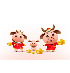 little ox family holding chinese gold vector image