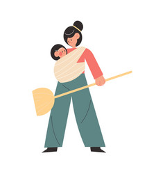 Loving mother carrying small bain sling on body vector