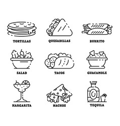 Mexican food icons set outline style vector