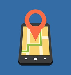 Mobile GPS navigation concept Flat design Isolated vector image