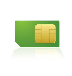 Modern mobile or cell phone sim with reflection vector