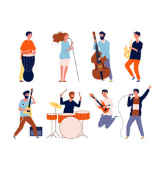 music band characters rock group musicians vector image
