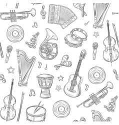 music seamless pattern musical instruments vector image
