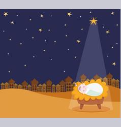 Nativity manger bajesus star and light cartoon vector