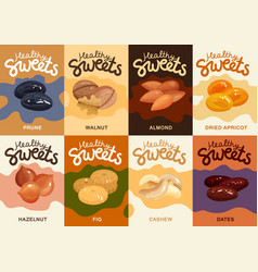 Nuts flat cards set vector