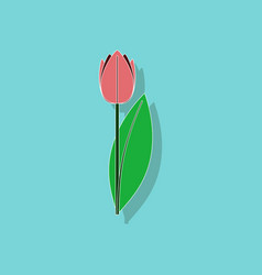 Paper sticker on stylish background plant tulipa vector