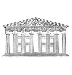 Parthenon restored highest part acropolis vector