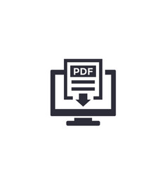 pdf download with computer icon vector image