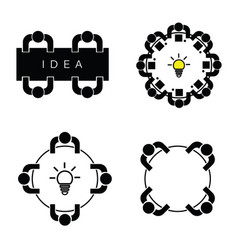 People silhouette icon with idea lightbulb vector