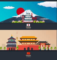 Poster travel to japan china mountain banner vector