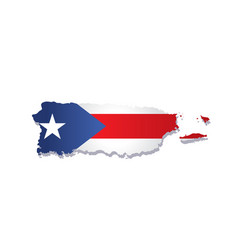 Puerto rico flag amp map vector