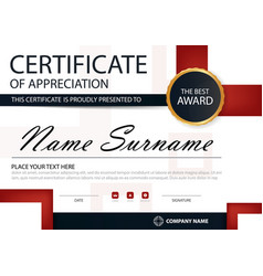 red black elegance horizontal certificate template vector image
