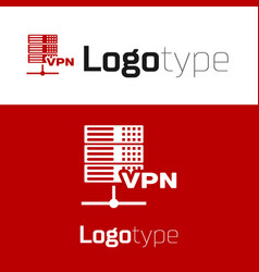 Red server vpn icon isolated on white background vector