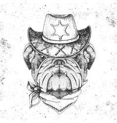 retro hipster animal bulldog hand drawing muzzle vector image
