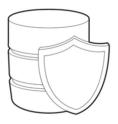Safe database icon outline style vector