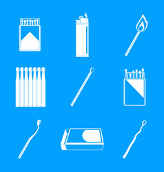 safety match ignite burn icons set simple style vector image